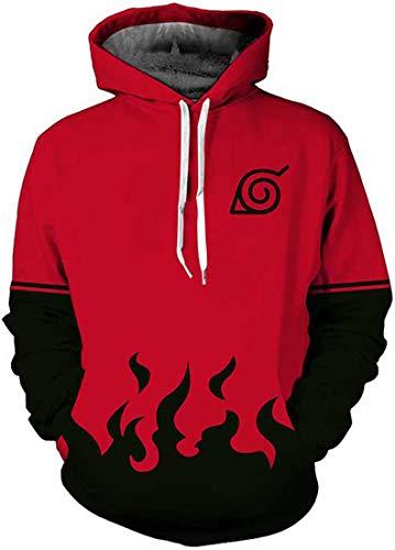 PANOZON Sudaderas Hombre Naruto Ninja Chaqueta con Capucha Camiseta Naruto Manga Larga Jersey para Fanes de Anime (XL, Rojo 06-1)