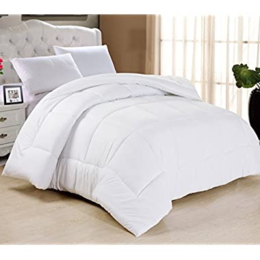 Swift Home All-season Extra Soft Luxurious Classic Light-Warmth Goose Down-Alternative Comforter, 90  x 90 , White, Queen