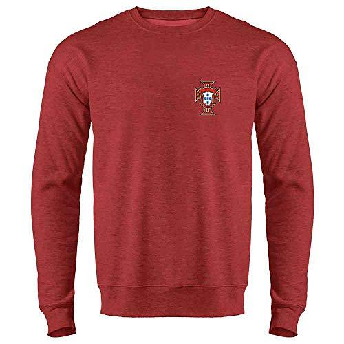 Portugal Soccer Retro National Team Football Heather Red L Crewneck Sweatshirt for Men