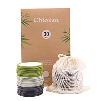 Chloven 30 Pack Organic Reusable Makeup Remover Pads - Bamboo Reusable Cotton Rounds for Toner Washable Eco-Friendly Pads for All Skin Types with Cotton Laundry Bag