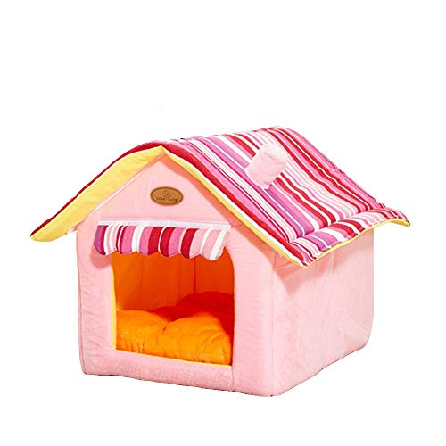 LVMEIHUA Portable Indoor Pet House,removable And Washable Dog Bed/cat Bed/pet Bed/pet Cage (Color : Pink, Size : S)