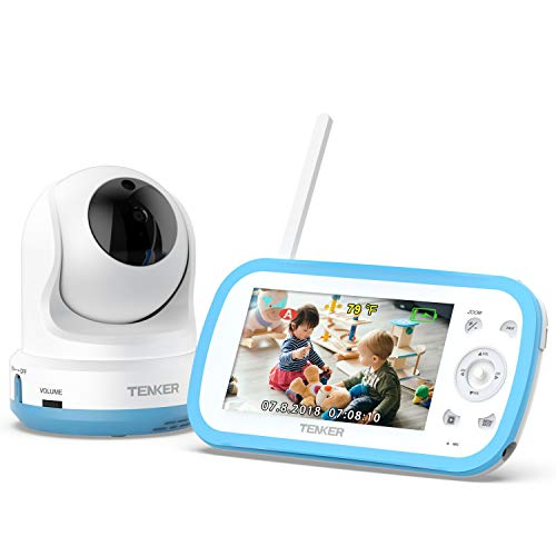 TENKER Digital Sound Activated Video Record Baby Monitor with 4.3-Inch Color LCD...