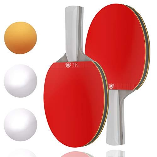 TK Gruppe Timo Klingler Tischtennis Set - Tischtennisschläger, Tischtennisbälle - für Training & Wettkampf - Ping Pong - Tischtenniskellen Schläger & Bälle (1x)