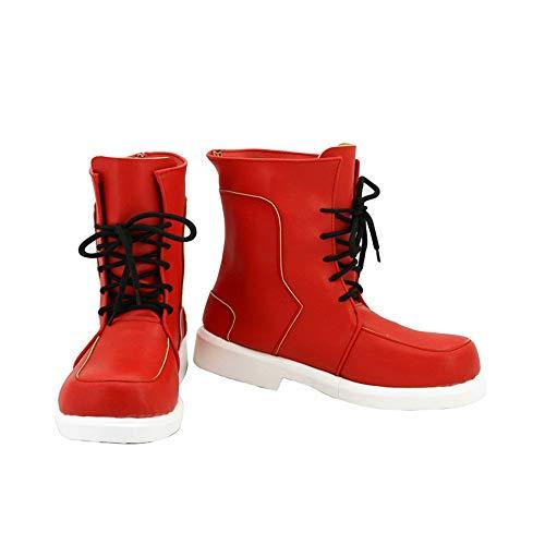 Halloween Men's high-top Shoes Fashion Ladies pu Leather Shoes My Hero Academia Deku Costume Midoriya Izuku Shoes Cosplay (red, Numeric_4_Point_5)