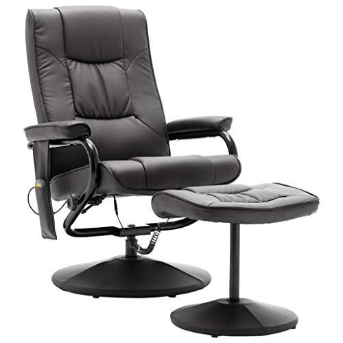vidaXL Massagesessel mit Fußhocker Heizfunktion Fernsehsessel Relaxsessel Massage TV Sessel Polstersessel Ruhesessel Grau Kunstleder
