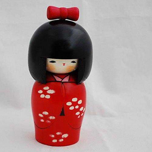 Muñeca japonesa Kokeshi – hecha a mano en Japón – Flor Bud