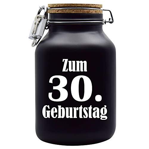 Salvadanaio per il 30° compleanno, idea regalo, colore: nero, XXL
