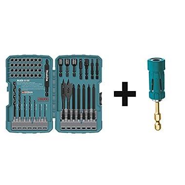Makita T-01725 Impact Drill-Driver Bit Set, Black Oxide, 70-Piece w/Makita B-35097 Impact Gold Ultra-Magnetic Torsion Insert Bit Holder