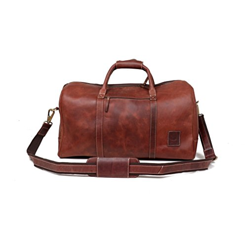 Leather Castle Genuine Vintage Men's Duffel Sports Gym, Travel, Carry-on Luggage Bag, Hickory Brown