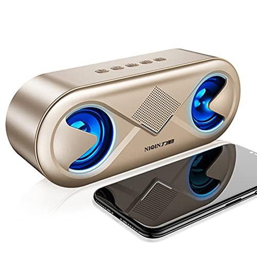 IYUNDUN Altavoz Portátil Bluetooth 5.0, Reproductor De Música Inalámbrico para Exteriores con Sonido Estéreo 4D, Bocina Doble, para Fiestas En Casa, Ducha, Coche, Exteriores, Viajes (Color : Gold)