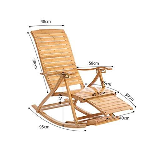 YAMEIJIA Comfortabele Relax Bamboe schommelstoel Met Voet Rest Ontwerp Woonkamer Meubels Volwassen Lounge Stoel Ligstoel Ligstoel Binnen/buiten, B