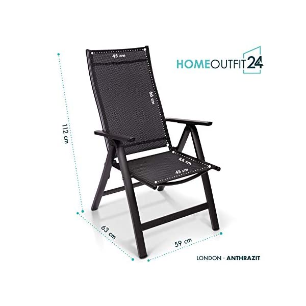 Homeoutfit24 Sun Garden Premium Line 1er Set Gartenstuhl - Hochlehner London in Anthrazit, Klappsessel aus Aluminium