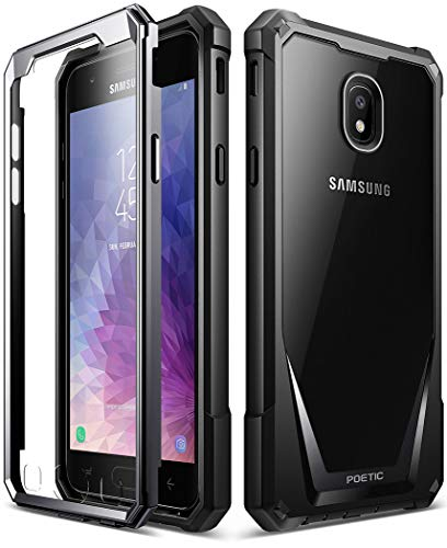 Galaxy J7 2018 Case, Poetic Guardian [Scratch Resistant Back] Full-Body Rugged Clear Hybrid Bumper Case with Built-in-Screen Protector for Samsung Galaxy J7 V/Galaxy J7 Refine (2018) Black