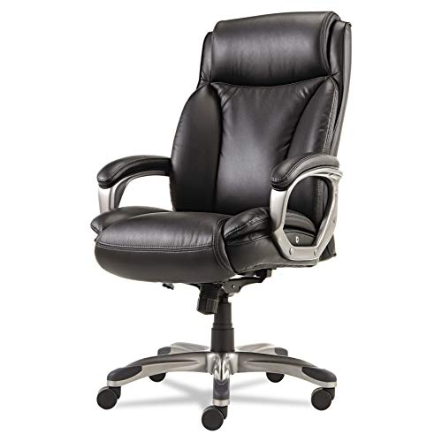 Alera Veon Series Executive High-Back Leather Chair with Coil Spring Cushioning, Black