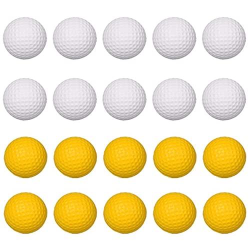 20 Stück Soft Golfbälle aus PU-Schaumstoff,Übungsball, Praxis Golfbälle PU Golfball,Elastic,für den Indoor Outdoor Golfübung,Kinder, Haustiere, Bälle für Spaß (Weiß ,Gelb)