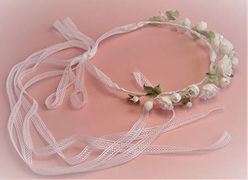 Semicorona de flores blancas para niña, con encaje blanco. Flores y m