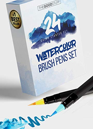 Watercolor Markers Pens for Adults and Kids - 24 Water Color Pens with Real Brush Tips, for Beginners and Advanced, Child Safe Watercolor Set by The Good Stuff
