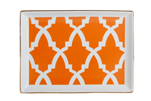 porland Morocco Muster 1 Orange 18cm Frühstücksteller 1 Stück - Porzellan Farbteller