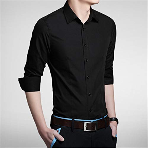 XGT Hemd Männer Langärmelige Hemden, Körper Anbau, Reine Farbe, Freizeit,Schwarz,XL
