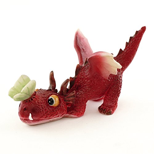 Top Collection Miniatur-Fairy Garden und Terrarium Mini Red Dragon Spielen mit Schmetterling Figur