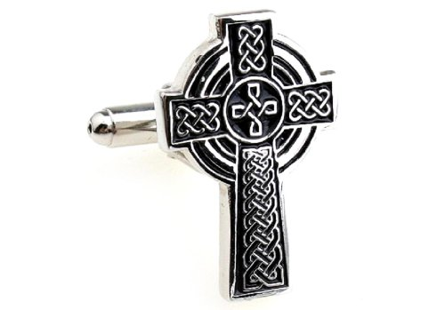 MRCUFF Celtic Cross Irish Ireland Pair Cufflinks in a Presentation Gift Box & Polishing Cloth