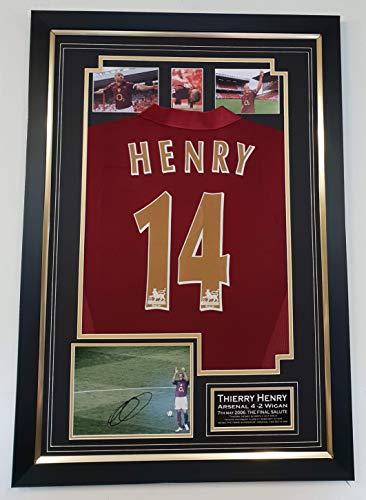 WWW.SIGNEDMEMORABILIASHOP.CO.UK Zeldzame Thierry Henry van Arsenal ondertekend foto en shirt laatste spel op HOGE DISPLAY