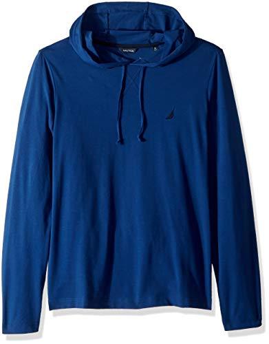 Nautica Herren Long Sleeve Pullover Hoodie Sweatshirt T-Shirt, Estate Blue, Small