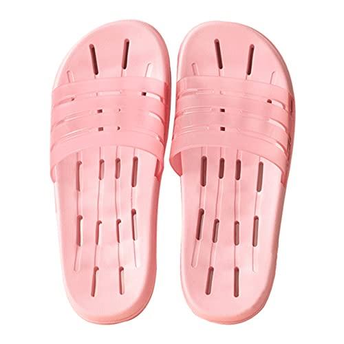 Lino Pantuflas Zapatillas de sandalias de la ducha de las mujeres Secado rápido Zapatos de baño antideslizante Piscina de la piscina Zapatos de agua con agujeros de drenaje y parte superior translúcid