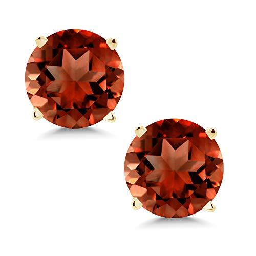 Gem Stone King 14K Yellow Gold Natural Genuine Red Garnet Stud Earrings For Women (2.00 Cttw Gemstone Birthstone 6MM)