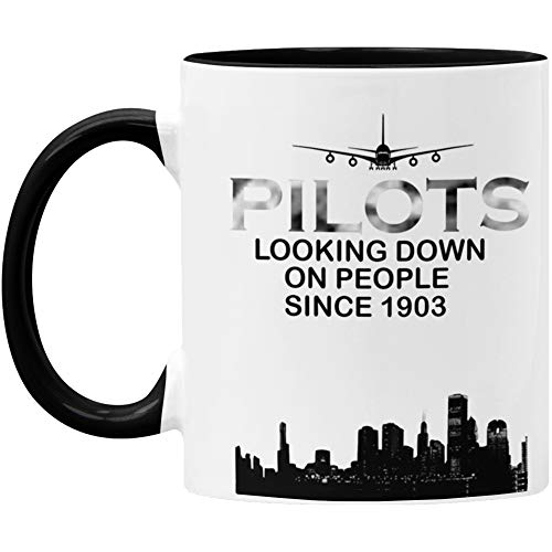 Unique Airplane Pilot Mug - Aviation Gift - Two Tone 11oz - Pilot Gifts - Pilot Decor - Black/White - Microwave and Dishwasher Safe - By GTR SOURCE corp.