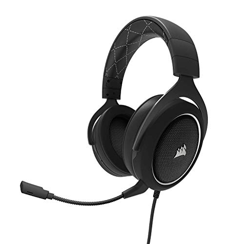Corsair HS60 – 7.1 Virtual Surround Sound PC Gaming Headset w/USB DAC - Discord Certified Headphones – compatible with Xbox One, PS4, and Nintendo Switch – White, 3.5mm + USB 7.1