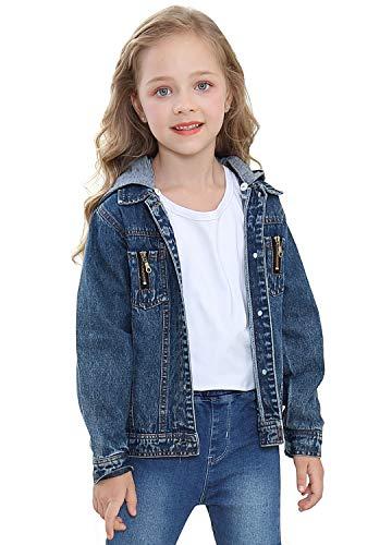 PUTUO Giacca Jeans Bambina Giacca Denim per Ragazze con con Cappuccio, Giubbotto Jeans Bambino Giacca Denim Ragazzi Giubbino Primavera Casuale, 7-8 Anni