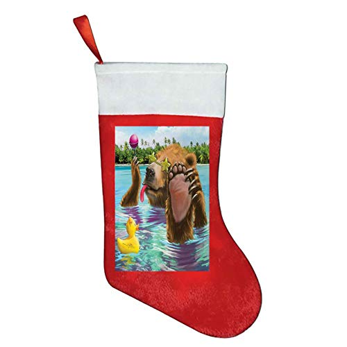 Animal funny christmas socks Happy Fancy Wild Bear in the Sea by the Beach with its Sunglasses Candies Print christmas ornaments 2020 Multicolor W12 x L16Inch