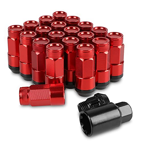 20Pcs Anti Theft Closed End Lug Nuts Extended Tuner Wheel Lock M12X1.5+Socket (Red)
