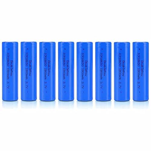 18650 Pilas Recargables Li-Ion 3,7 V ICR 1800 mAh de Alta Capacidad Pilas Linterna Portátil Batería de Repuesto 1200 Cycles de Larga Duración (Tête Plate, Paquete de 8)