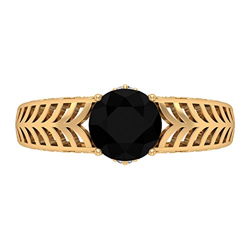 Anillo de compromiso de 7 mm con solitario ónix negro, D-VSSI moissanita y ónix negro, anillo de filigrana de oro macizo, 14K Oro amarillo, Size:EU 70