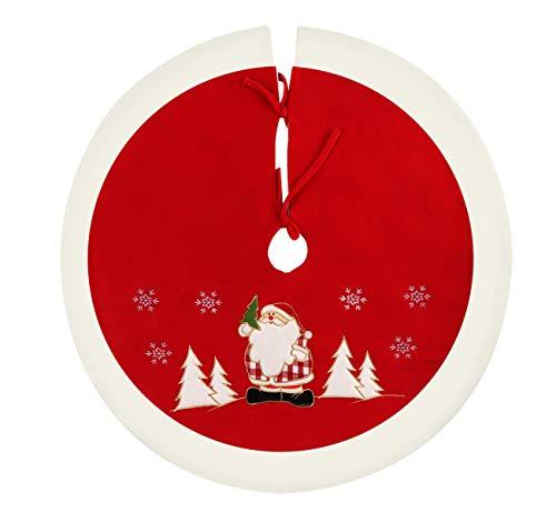 Agoer Weihnachtsbaum Unterlage rund Weihnachtsbaumdecke, Weihnachtsbaum Baumdecke Weihnachten Deko Schutz vor Tannennadeln - rot, weiß 36inch 90cm…