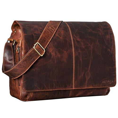STILORD 'Alex' Bolso de Mensajero o Bandolera de Piel para Hombre y Mujer Maletín o Bolsa de Hombro Estilo Vintage para portátil de 15.6' de Cuero auténtico, Color:Kansas - marrón