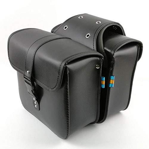 Househome - Bolsa para sillín de motocicleta, con bolsillos laterales, desmontable, resistente, universal, para motocicleta, color negro, 26 x 24 x 11,5 cm
