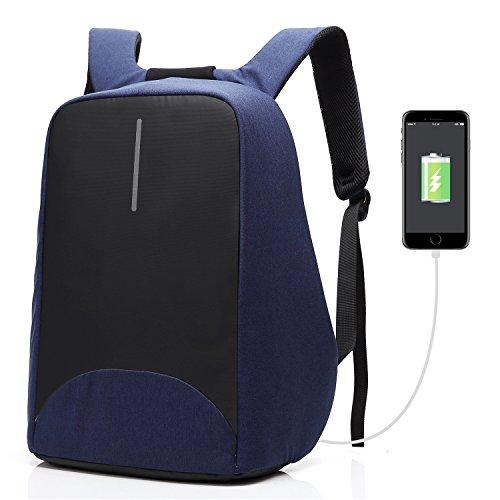 CoolBELL Zaino Antifurto per Portatili Porta di Ricarica USB/Zaino per Studenti Leggero/Funzionale Borsa per Il Lavoro/Zaino Impermeabile per Uomini/Donne/Adolescenti (Blu)