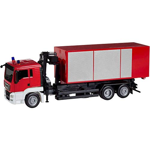 herpa 13406 – Man TGS L Löschfahrzeug, LKW Feuerwehrauto mit Kran, Cars, Rotes Miniatur Auto, Mini Kit, Modellbau, Miniaturmodelle, Sammlerstück, Kunststoff - Maßstab 1:87