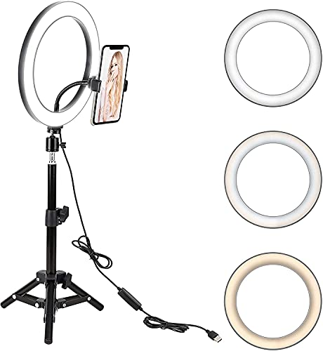 """6"""" LED Ring Light with Stand & Phone Holder for Live Stream/Makeup/Vlogging"""