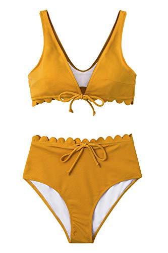 CUPSHE Damen Bikini Set mit Schnüren Geteilter Badeanzug Wellenkante High Waist Strandmode Zweiteilig Badeanzug Gelb XS