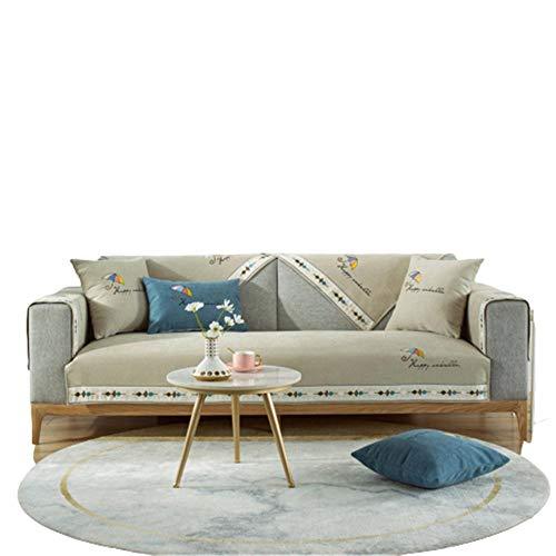 Chenille Umbrella Bestickte Sofabezüge Moderne Schnittsofabezug,L-förmige Sofabezug,Couchbezug,Hellbraun,70 * 210