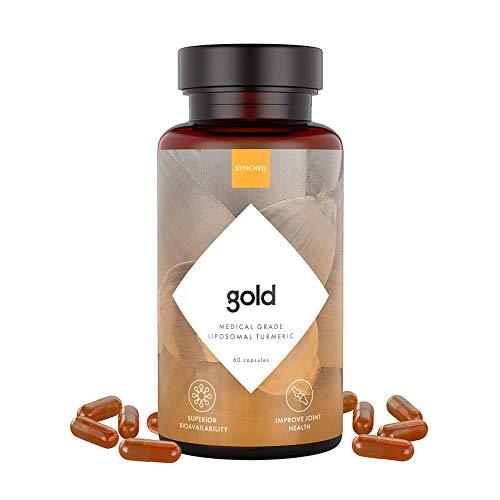 SYNCHRO Gold Medical-Grade Liposomal Turmeric | 60ct Capsules | Whole-Plant Extract, Nano-Encapsulation Delivery | Curcumin Black Pepper Piperine Supplement