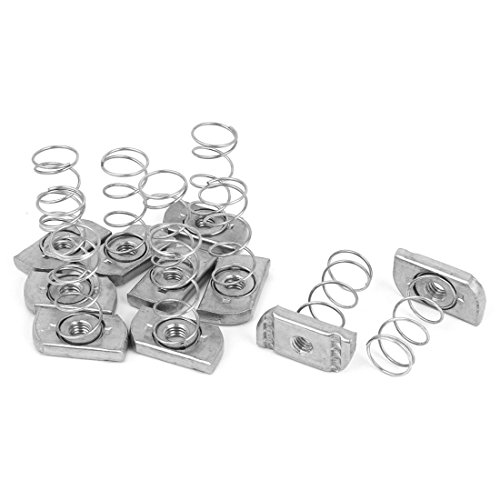 uxcell M8 x 6mm Unistrut Type Zinc Plated Long Spring Channel Nuts 10 Pcs