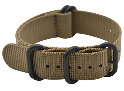 ArtStyle Watch Band with Ballistic Nylon Material Strap and High-End Black Buckle (Matte Finish Buckle) (Khaki, 20mm)