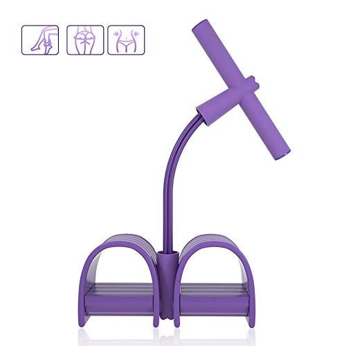 CESHMD Aktualisiert Pedal Widerstandsband 4-Rohr Sit-up Bodybuilding Expander Elastische Zugseil Trainingsgeräte für Abdomen Taille Arm Training (Lila)