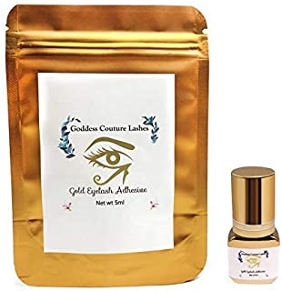 Goddess Couture Lashes Gold Eyelash Adhesive | Long Retention | Fast 1-2 Second Drying Time | Up to 9 Weeks Hold | Classic & Volume | Semi-Permanent Eyelash Extensions | 5ML