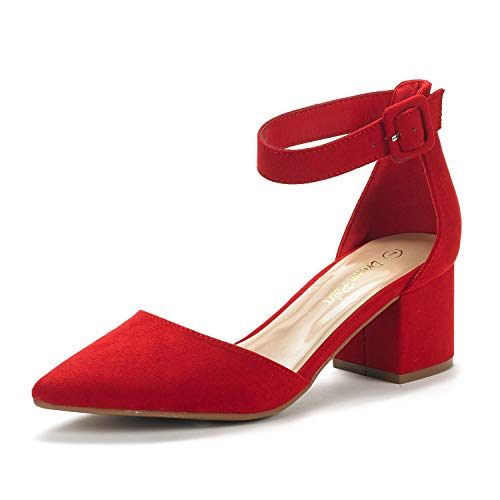DREAM PAIRS Women's Annee Red Suede Low Heel Pump Shoes - 8 M US